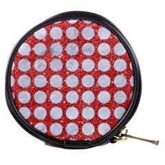 Circles1 White Marble & Red Glitter Mini Makeup Bags by trendistuff