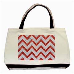 Chevron9 White Marble & Red Glitter (r) Basic Tote Bag by trendistuff
