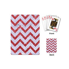 Chevron9 White Marble & Red Glitter (r) Playing Cards (mini)  by trendistuff