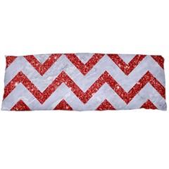 Chevron9 White Marble & Red Glitter (r) Body Pillow Case Dakimakura (two Sides) by trendistuff