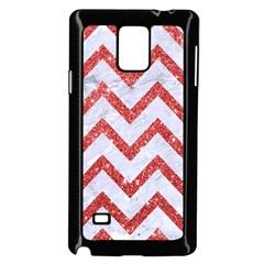 Chevron9 White Marble & Red Glitter (r) Samsung Galaxy Note 4 Case (black) by trendistuff