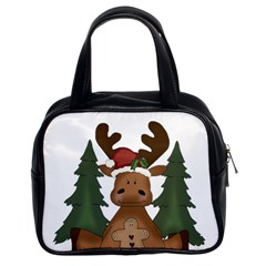 Christmas Moose Classic Handbags (2 Sides) by Sapixe