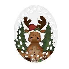 Christmas Moose Ornament (oval Filigree) by Sapixe
