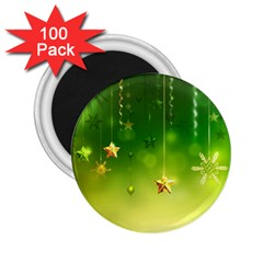 Christmas Green Background Stars Snowflakes Decorative Ornaments Pictures 2 25  Magnets (100 Pack)  by Sapixe
