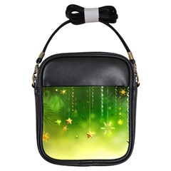 Christmas Green Background Stars Snowflakes Decorative Ornaments Pictures Girls Sling Bags by Sapixe
