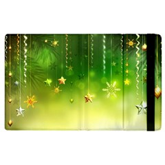 Christmas Green Background Stars Snowflakes Decorative Ornaments Pictures Apple Ipad 3/4 Flip Case by Sapixe