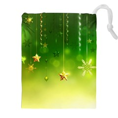 Christmas Green Background Stars Snowflakes Decorative Ornaments Pictures Drawstring Pouches (xxl)