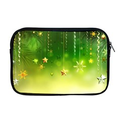 Christmas Green Background Stars Snowflakes Decorative Ornaments Pictures Apple Macbook Pro 17  Zipper Case by Sapixe