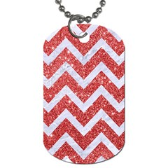 Chevron9 White Marble & Red Glitter Dog Tag (two Sides) by trendistuff
