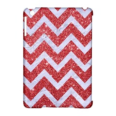 Chevron9 White Marble & Red Glitter Apple Ipad Mini Hardshell Case (compatible With Smart Cover) by trendistuff