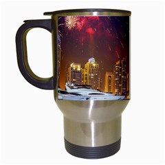 Christmas Night In Dubai Holidays City Skyscrapers At Night The Sky Fireworks Uae Travel Mugs (white) by Sapixe