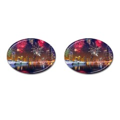 Christmas Night In Dubai Holidays City Skyscrapers At Night The Sky Fireworks Uae Cufflinks (oval) by Sapixe