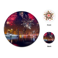 Christmas Night In Dubai Holidays City Skyscrapers At Night The Sky Fireworks Uae Playing Cards (round)  by Sapixe