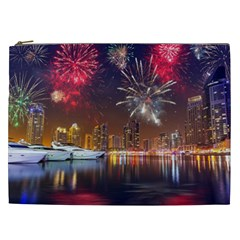 Christmas Night In Dubai Holidays City Skyscrapers At Night The Sky Fireworks Uae Cosmetic Bag (xxl)  by Sapixe