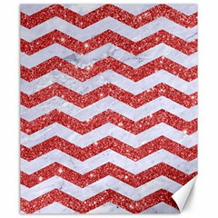 Chevron3 White Marble & Red Glitter Canvas 20  X 24   by trendistuff