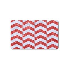 Chevron2 White Marble & Red Glitter Magnet (name Card) by trendistuff