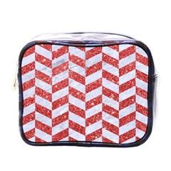 Chevron1 White Marble & Red Glitter Mini Toiletries Bags by trendistuff