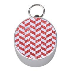 Chevron1 White Marble & Red Glitter Mini Silver Compasses