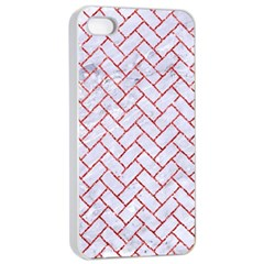 Brick2 White Marble & Red Glitter (r) Apple Iphone 4/4s Seamless Case (white) by trendistuff