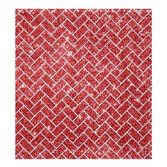 Brick2 White Marble & Red Glitter Shower Curtain 66  X 72  (large)  by trendistuff