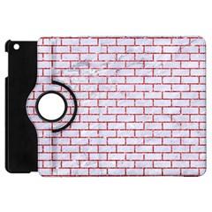 Brick1 White Marble & Red Glitter (r) Apple Ipad Mini Flip 360 Case by trendistuff