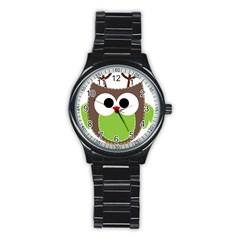 Clip Art Animals Owl Stainless Steel Round Watch by Sapixe