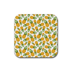 Pineapple Pattern Rubber Square Coaster (4 Pack)  by goljakoff