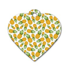 Pineapple Pattern Dog Tag Heart (one Side) by goljakoff