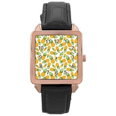 Pineapple Pattern Rose Gold Leather Watch  by goljakoff
