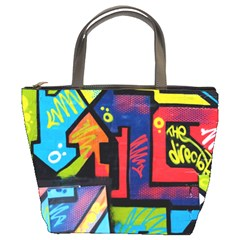 Urban Graffiti Movie Theme Productor Colorful Abstract Arrows Bucket Bags