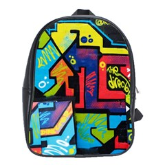 Urban Graffiti Movie Theme Productor Colorful Abstract Arrows School Bag (xl) by MAGA