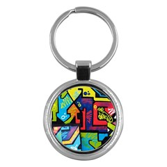 Urban Graffiti Movie Theme Productor Colorful Abstract Arrows Key Chains (round)  by MAGA