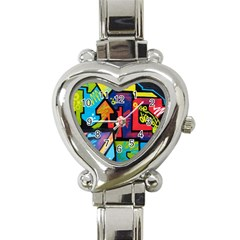 Urban Graffiti Movie Theme Productor Colorful Abstract Arrows Heart Italian Charm Watch by MAGA