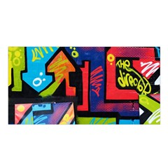 Urban Graffiti Movie Theme Productor Colorful Abstract Arrows Satin Shawl by MAGA