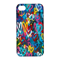 Graffiti Hearts Street Art Spray Paint Rad  Apple Iphone 4/4s Hardshell Case With Stand