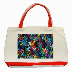 Graffiti Hearts Street Art Spray Paint Rad Classic Tote Bag (red)