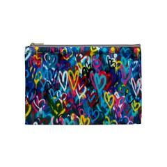 Graffiti Hearts Street Art Spray Paint Rad Cosmetic Bag (medium)  by MAGA