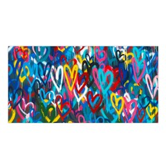 Graffiti Hearts Street Art Spray Paint Rad Satin Shawl by MAGA