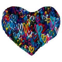 Graffiti Hearts Street Art Spray Paint Rad Large 19  Premium Heart Shape Cushions