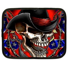 Confederate Flag Usa America United States Csa Civil War Rebel Dixie Military Poster Skull Netbook Case (xxl)  by Sapixe