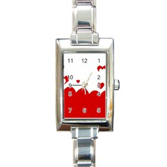 Heart Shape Background Love Rectangle Italian Charm Watch