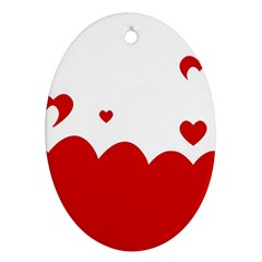 Heart Shape Background Love Ornament (oval)
