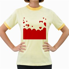 Heart Shape Background Love Women s Fitted Ringer T Shirts