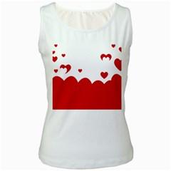 Heart Shape Background Love Women s White Tank Top