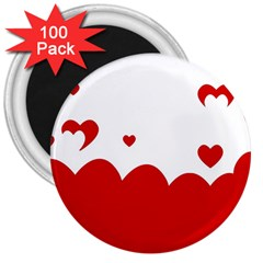 Heart Shape Background Love 3  Magnets (100 Pack)