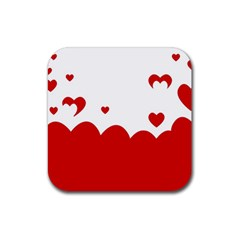 Heart Shape Background Love Rubber Square Coaster (4 Pack)