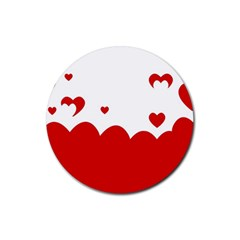 Heart Shape Background Love Rubber Round Coaster (4 Pack)