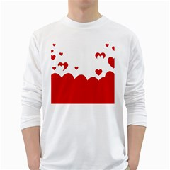 Heart Shape Background Love White Long Sleeve T Shirts
