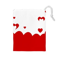 Heart Shape Background Love Drawstring Pouches (large)