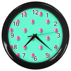 Love Heart Set Seamless Pattern Wall Clocks (black)